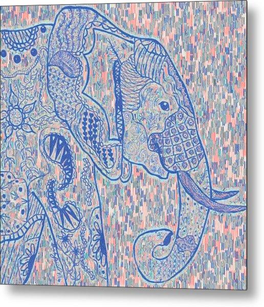 Zentangle Elephant-oil Metal Print