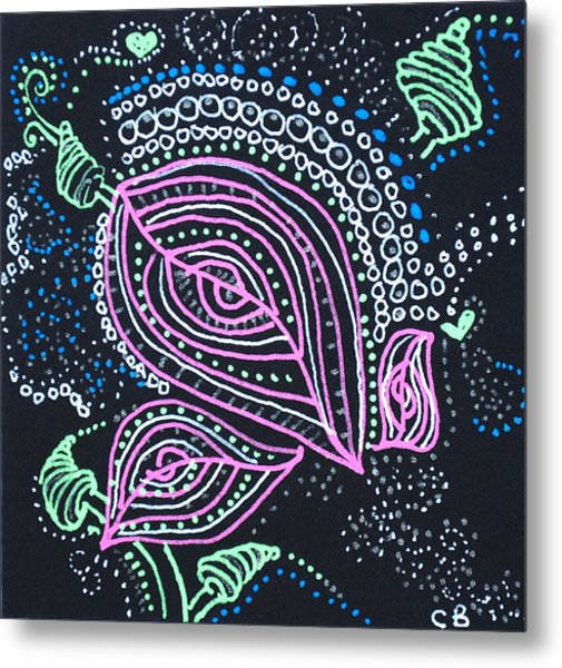 Zentangle Flower Metal Print