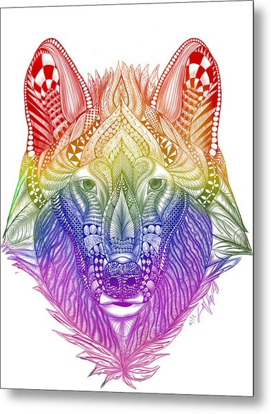 Zentangle Inspired Art- Rainbow Wolf Metal Print