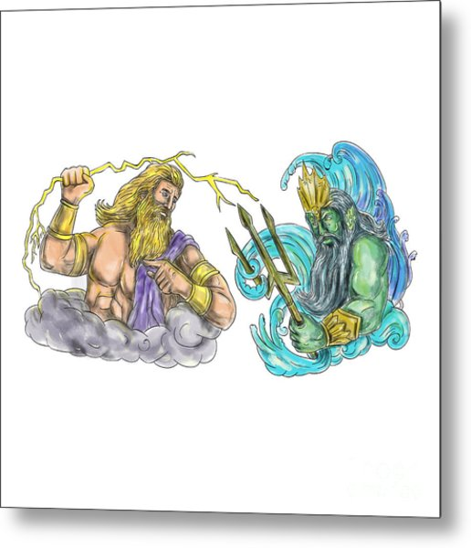 Poseidon Staff Tattoo: Traditional Tattoo Flash Metal Prints And Traditional