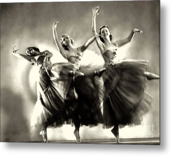 Ziegfeld Model  Dancers By Alfred Cheney Johnston Black And White Ballet Metal Print