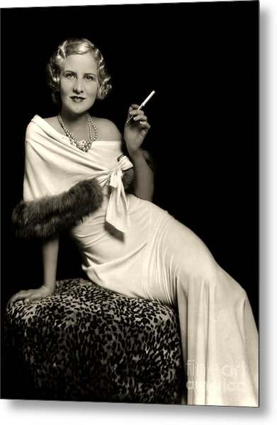 Ziegfeld Model Reclining In Evening Dress  Holding Cigarette By Alfred Cheney Johnston Metal Print