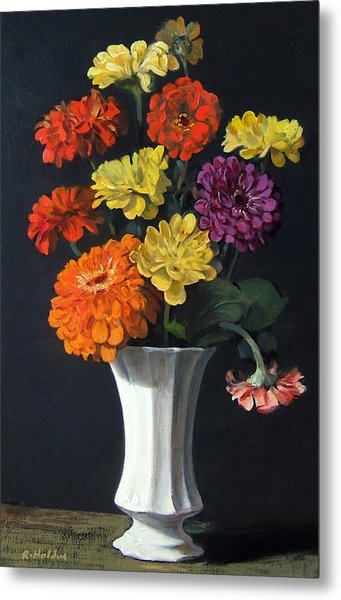 Zinnias Showing Their True Colors In White Vase Metal Print