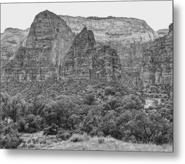 Zion Canyon Monochrome Metal Print