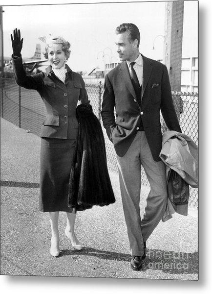 Zsa Zsa Gabor And Porfirio Rubirosa Arrive At Idlewild Airport From Ireland. 1954 Metal Print by Barney Stein