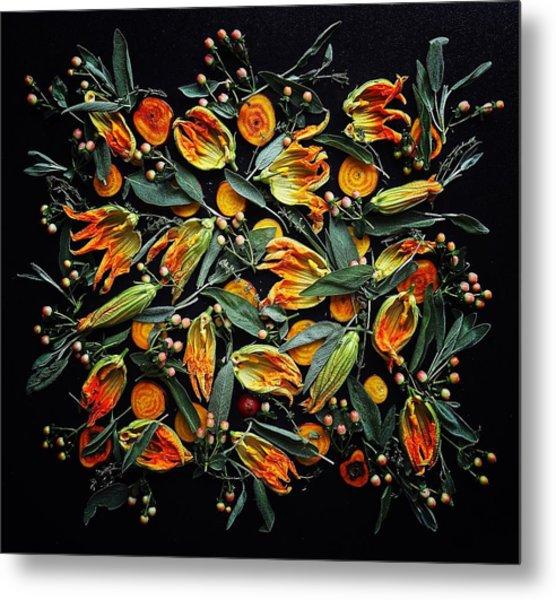 Zucchini Flower Patterns Metal Print