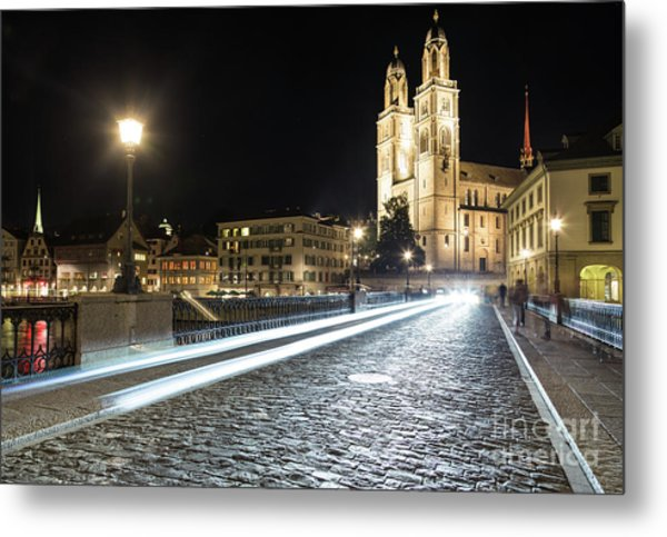 Zurich Night Rush In Old Town Metal Print