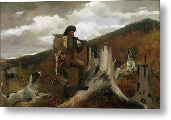 A Huntsman And Dogs, 1891 Metal Print
