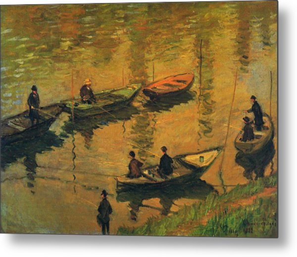 Anglers On The Seine At Poissy, 1882 Metal Print