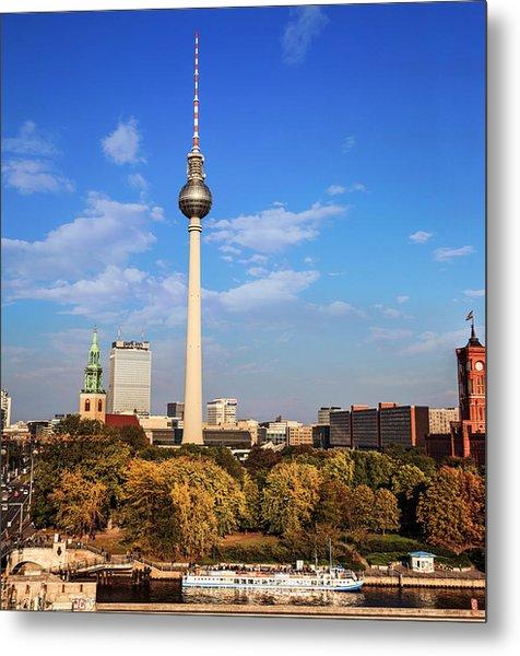 Berlin, Germany Fernsehturm Tv Tower Metal Print by Miva Stock