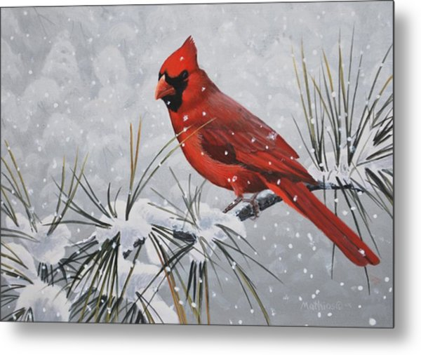 Cardinal In The Snow Metal Print