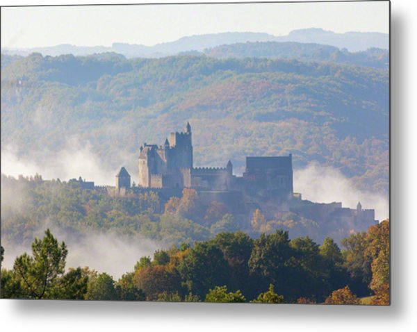 Chateau Beynac In The Mist Metal Print