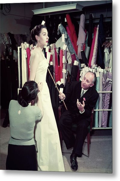 Christian Dior In France In The 1950s - Metal Print by Kammerman