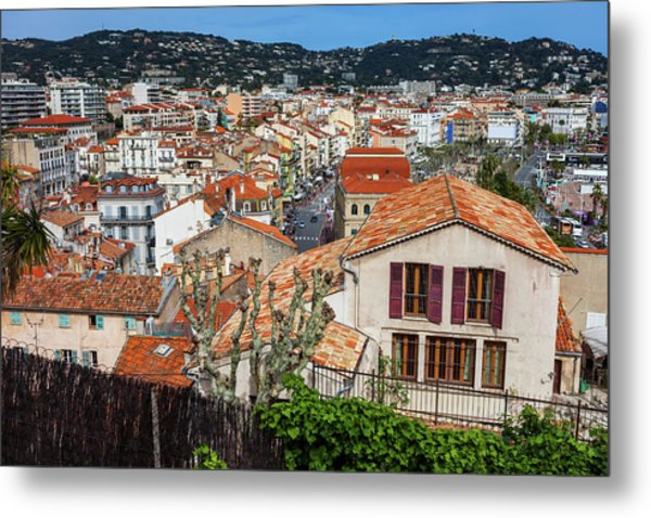 City Of Cannes Cityscape In France Metal Print