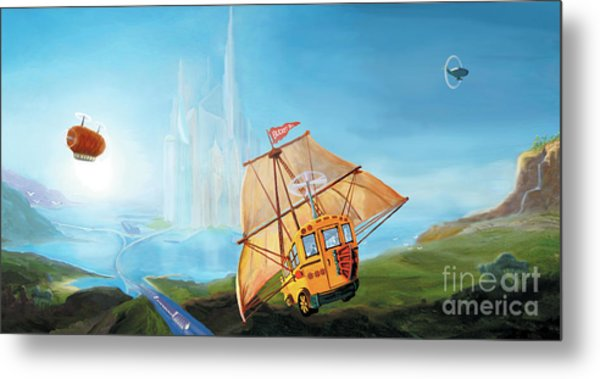 Metal Print featuring the painting City On The Sea by Donna Hall