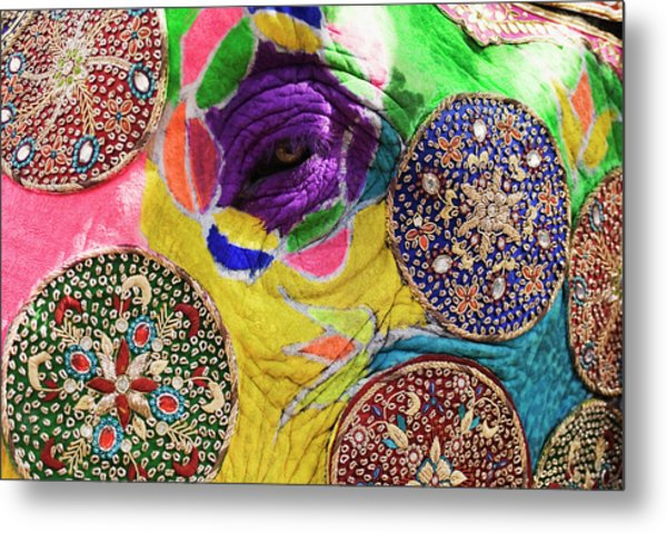 Close-up Of A Painted Elephant Metal Print by Exotica.im