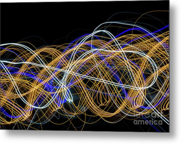 Colorful Light Painting With Circular Shapes And Abstract Black Background. Metal Print
