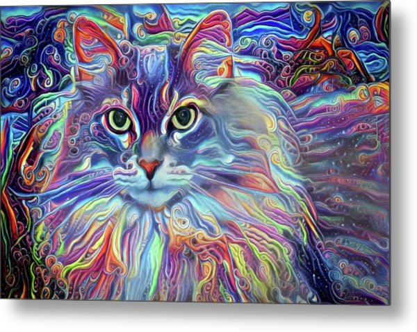 Colorful Long Haired Cat Art Metal Print