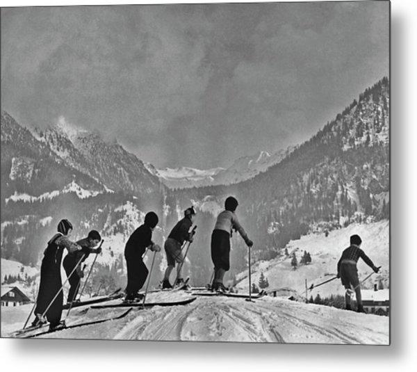 Compulsory Skiing Metal Print
