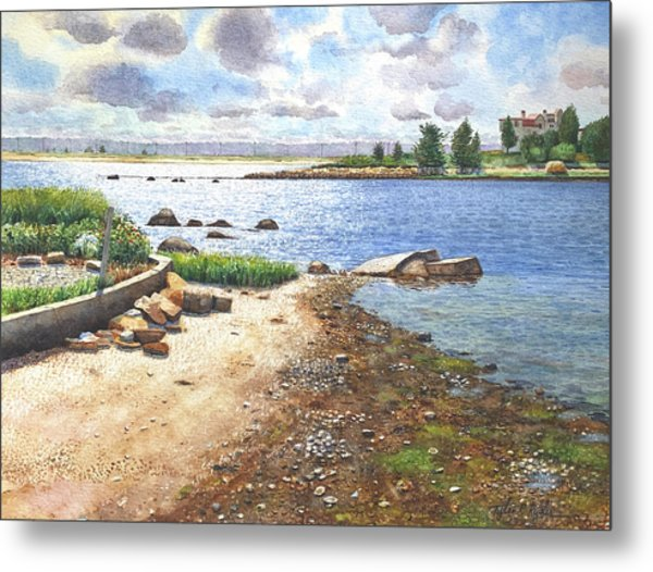 Crab Rock, Low Tide Metal Print