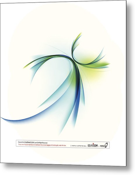 Curved Shape On White Background Metal Print by Eastnine Inc.