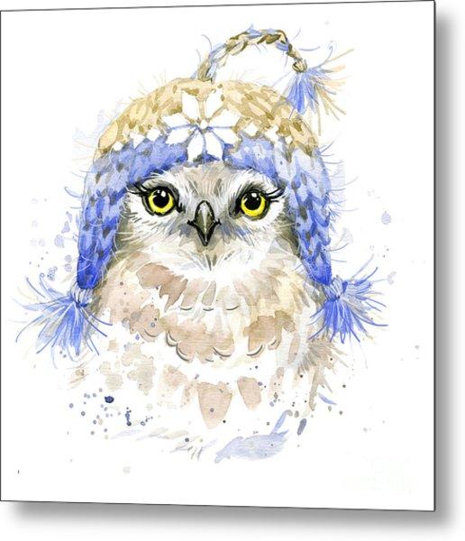 Cute Owl Watercolor Illustration Metal Print