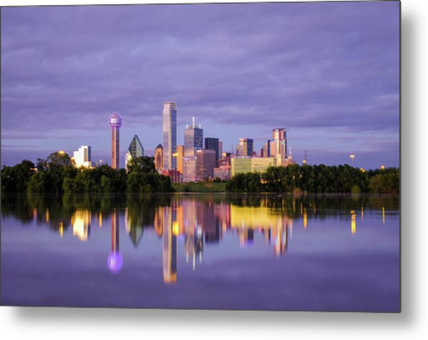 Dallas Texas Cityscape Reflection Metal Print