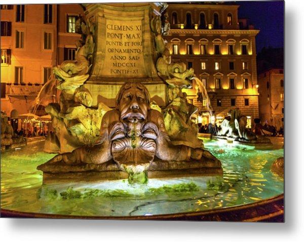 Della Porta Fountain, Piazza Della Metal Print by William Perry