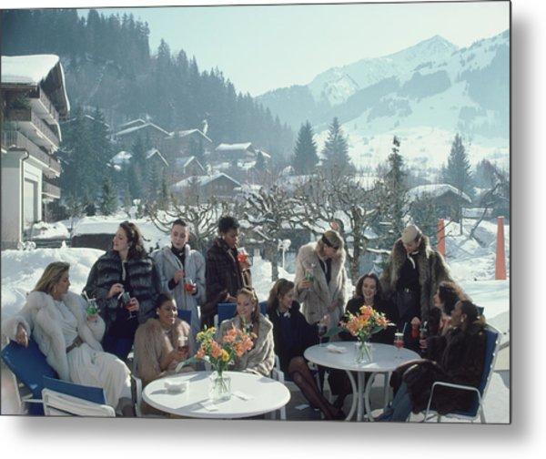 Drinks At Gstaad Metal Print by Slim Aarons