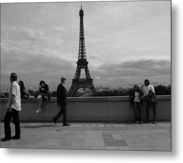 Metal Print featuring the photograph Eiffel Tower, Tourist by Edward Lee