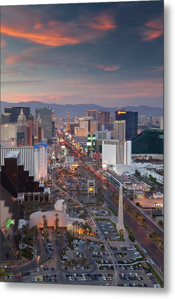 Elevated View Of The Hotels And Casinos Metal Print