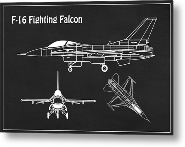 F-16 Fighting Falcon - Airplane Blueprint. Drawing Plans For General Dynamics F-16 Fighting Falcon Metal Print