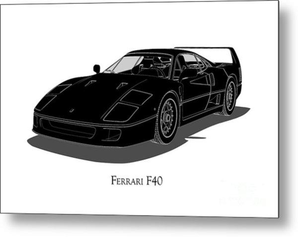 Ferrari F40 - Front View Metal Print