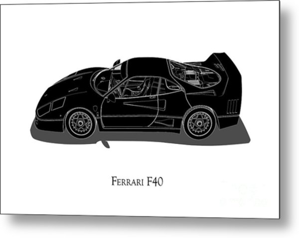 Ferrari F40 - Side View Metal Print
