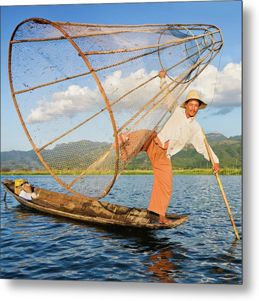 Fisherman On Inle Lake, Myanmar Metal Print