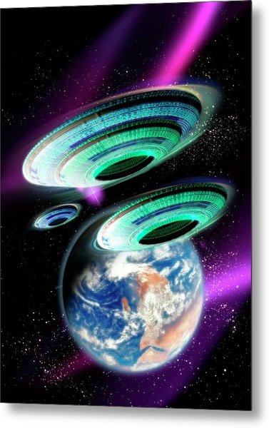 Flying Saucers Invading Earth, Artwork Metal Print by Victor Habbick Visions