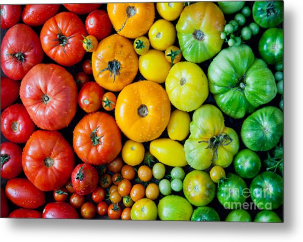 Fresh Heirloom Tomatoes Background Metal Print