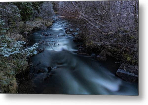 Frozen River And Winter In Forest. Long Exposure With Nd Filter Metal Print