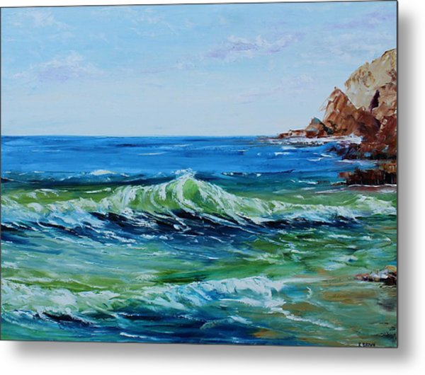 Metal Print featuring the painting Green Wave by Kevin Brown
