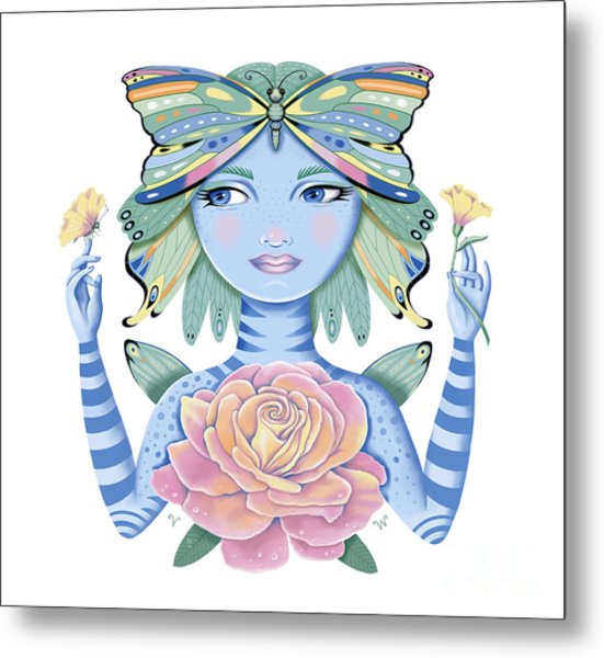 Insect Girl, Winga, With Rose Metal Print