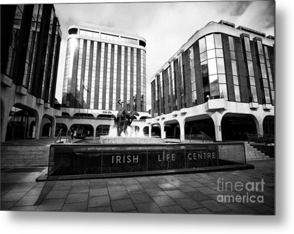Irish Life Centre With Chariot Of Life Sculpture And Fountain Dublin Republic Of Ireland Europe Metal Print by Joe Fox