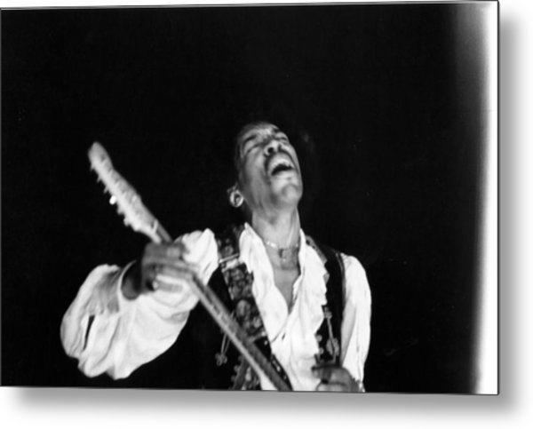 Jimi Hendrix Performs At Monterey Metal Print by Michael Ochs Archives