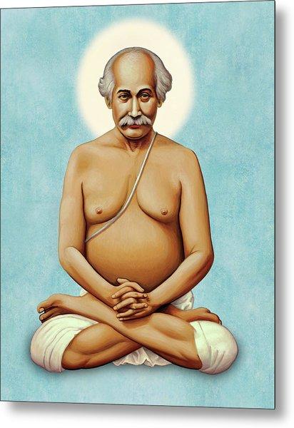 Lahiri Mahasaya On Blue Metal Print