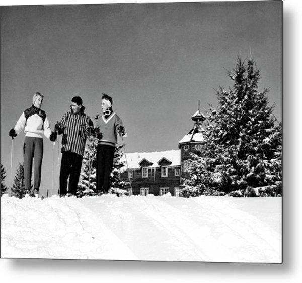 Laurentian Mountain Skiers Metal Print