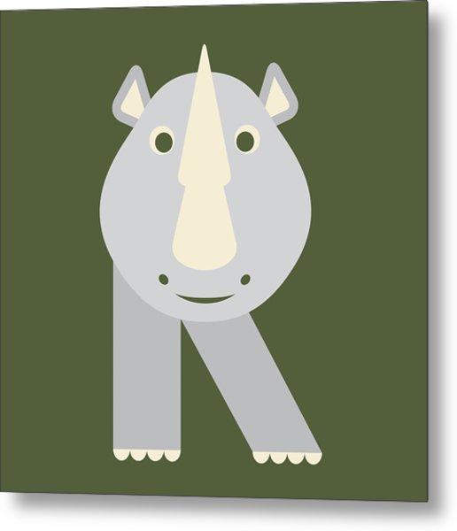 Letter R - Animal Alphabet - Rhino Monogram Metal Print