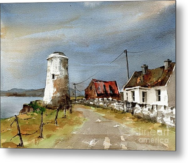 Metal Print featuring the painting Lighthouse On Inis Boffin, Galway by Val Byrne