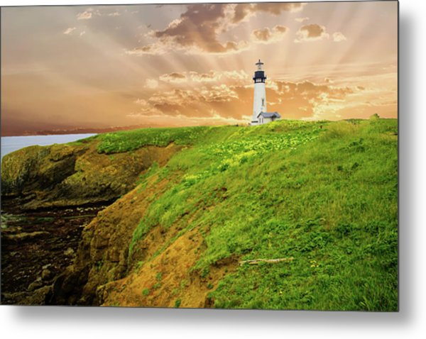 Lighthouse On  Yaquina Head  Metal Print