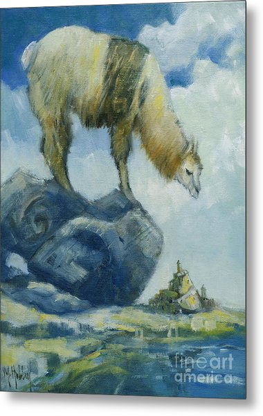 Llama And The Castle Metal Print