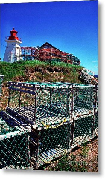Lobster Traps Neils Harbour Lightstation Metal Print