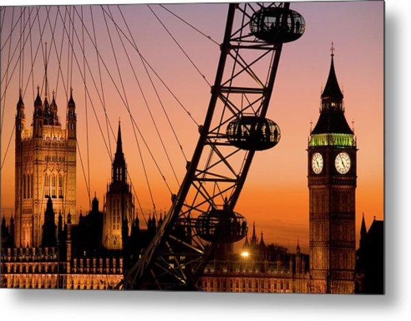 London Eye And Big Ben At Dusk Metal Print